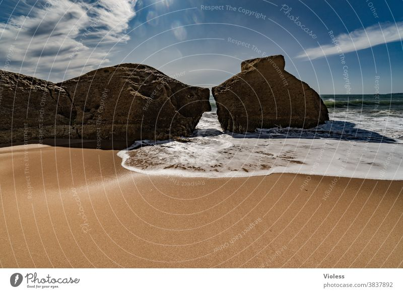 Rocks at the beach of Gale in Portugal Colour photo Surf Vale Parra gale Algarve Relaxation Discover Swimming & Bathing Beach Water Sand Landscape Sunbeam Stone