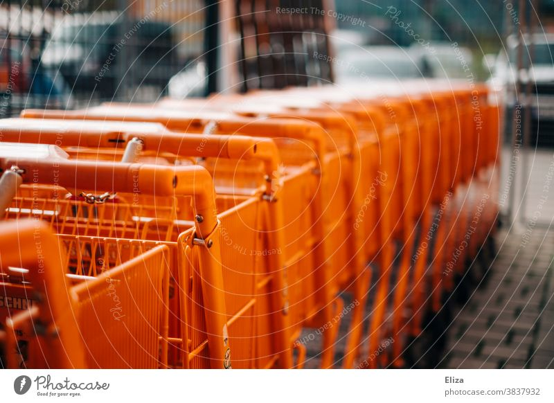 A series of orange shopping carts Shopping carts Row Orange Home improvement store Retail sector Supermarket Shopping Trolley Trade