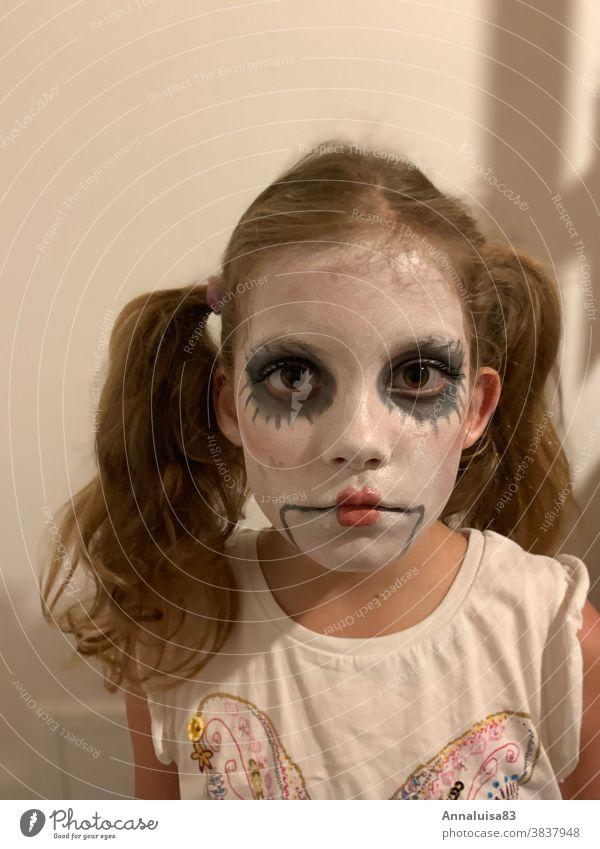 Halloween Mask Hallowe'en Autumn Dress up Make-up Child Girl Doll Apply make-up colors