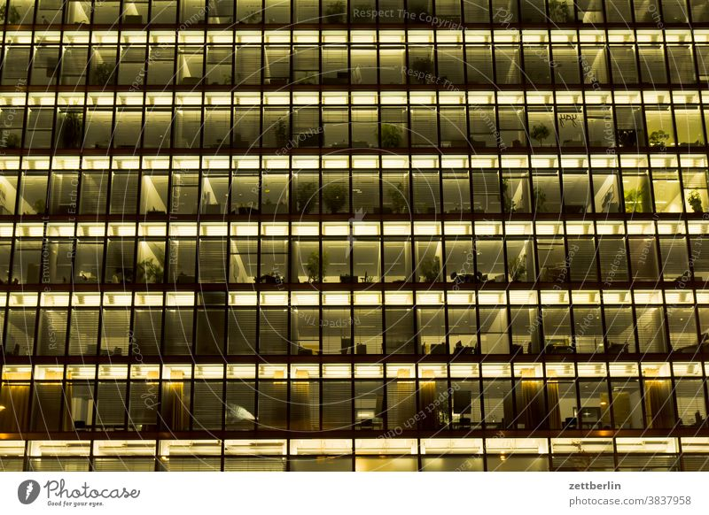 Office facade at night House (Residential Structure) Facade Architecture office building Administration Building Administration building Evening Night