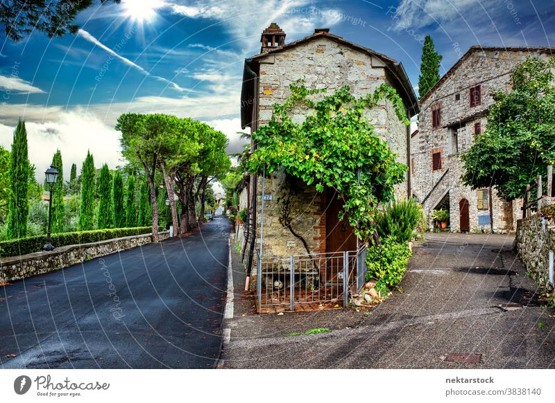 Picturesque Village Houses and Road in Tuscany San Sano village Italy cloud summer sky road house home dwelling ancient old picturesque idyllic Europe day