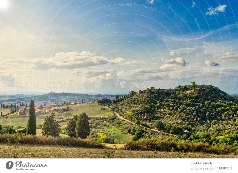 Hills of Tuscany and Summer Landscape hill field sky landscape cloudscape Italy crop rural rolling hill Europe day natural lighting farmland sunny summer crops