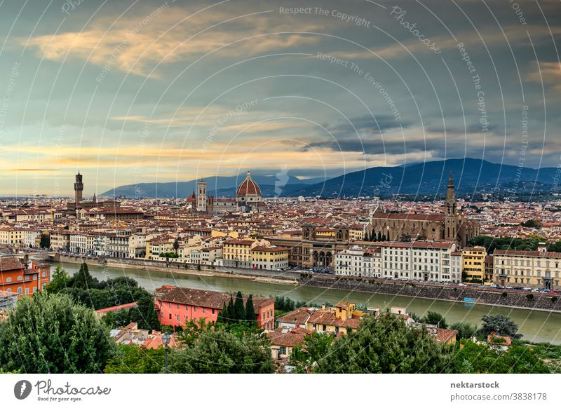 Florence Townscape Panoramic View townscape cityscape skyline Tuscany Italy panoramic view panorama mountain river Arno cloudscape tourist attraction wide shot