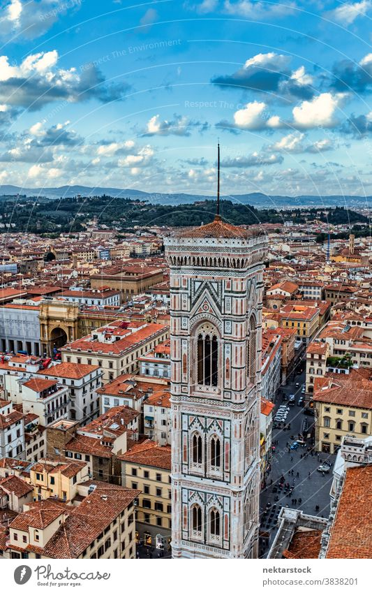 Giotto's Bell Tower (Campanile) and Florence Rooftops Giotto's Campanile cityscape skyline rooftop Tuscany Italy bell tower landmark architecture picturesque