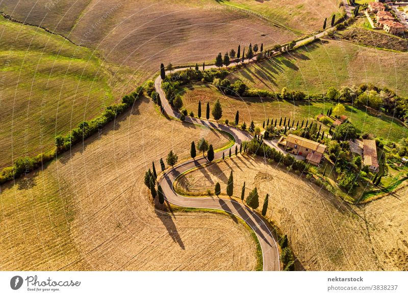 Winding Road and Fields in Pienza Italy Aerial View road Tuscany agriculture field rural landscape farmland countryside winding house road less travelled sunny