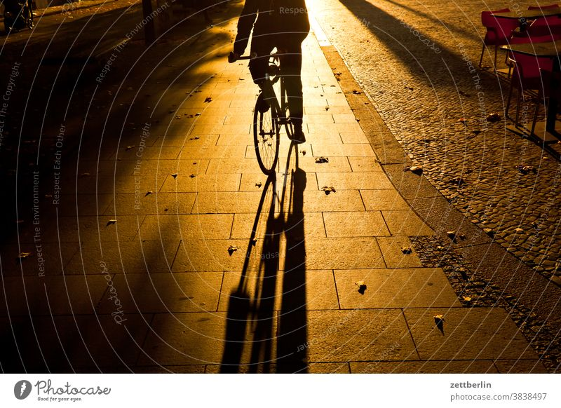 Accommodating cyclist Evening Architecture Berlin Sidewalk Office city Germany Twilight Bicycle Cycle path Capital city House (Residential Structure) Sky