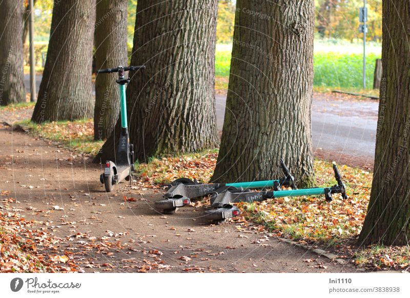 3 electric scooters ready for the next use Technology Renting Autumn leaves walkway Lifestyle Botanical gardens Gütersloh Edge trim thick trees Turquoise Black