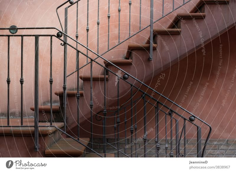 Stairs with railing Banister climb the stairs Architecture Downward Upward side view Go up House (Residential Structure) Auburn Nostalgia dream Success