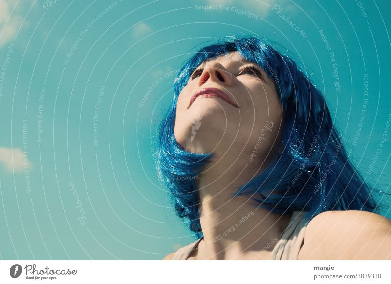 1000: Woman with blue hair looks expectantly into the blue sky! What will the future bring? portrait Young woman Face Sky Blue To enjoy Human being