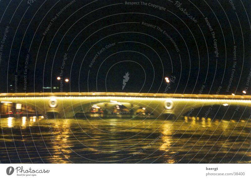 His Bridge in Paris at Night I Seine Flood Water