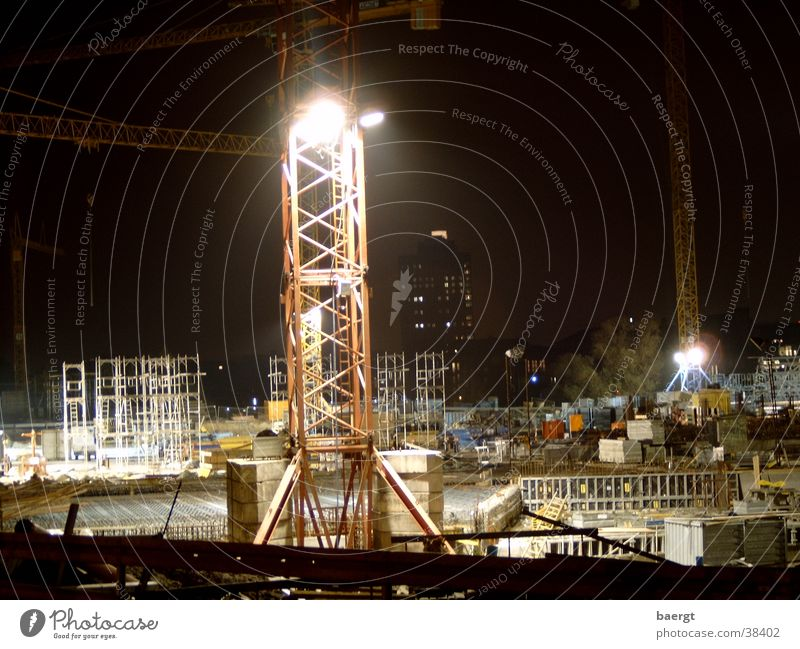 Construction site Berlin Lehrter railway station at night Night Berlin Hauptbahnhof Crane Architecture Berlin Central Station Railroad