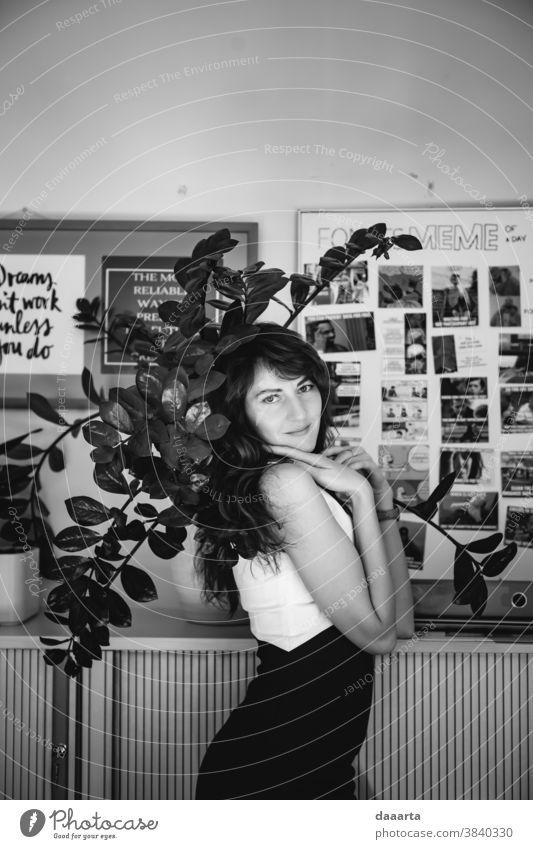 Annat office Portrait photograph Interior shot Black & white photo Diva Daydreamer Honest Goodness Passion Moody Emotions Positive Cute Beautiful Friendliness