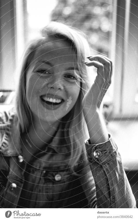 Kristine freckles queen laughing Portrait photograph Day Interior shot Goodness Truth Black & white photo Peaceful Joie de vivre (Vitality) Moody Friendliness