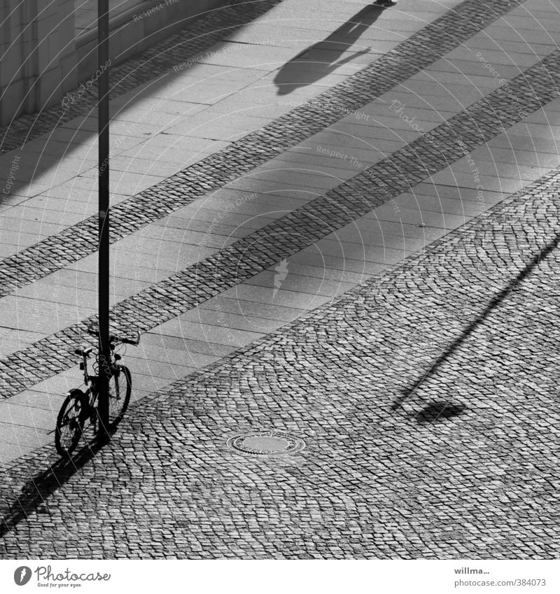 crazy stories. Town Places Architecture Bicycle Lamp post Relationship Shadow Shadow play Black & white photo Exterior shot