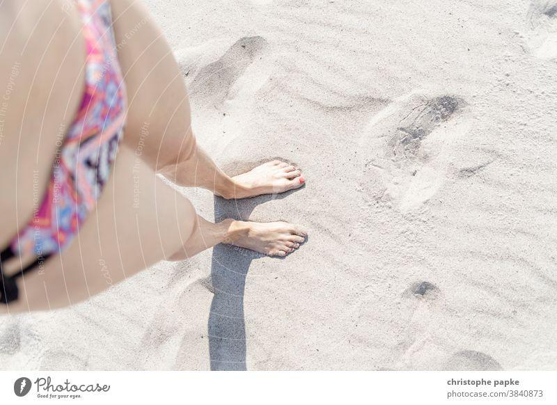 Female feet in the sand feminine Woman Sand Beach Summer Feet Legs Barefoot Ocean Vacation & Travel Toes Relaxation Exterior shot Human being Sandy beach Bikini