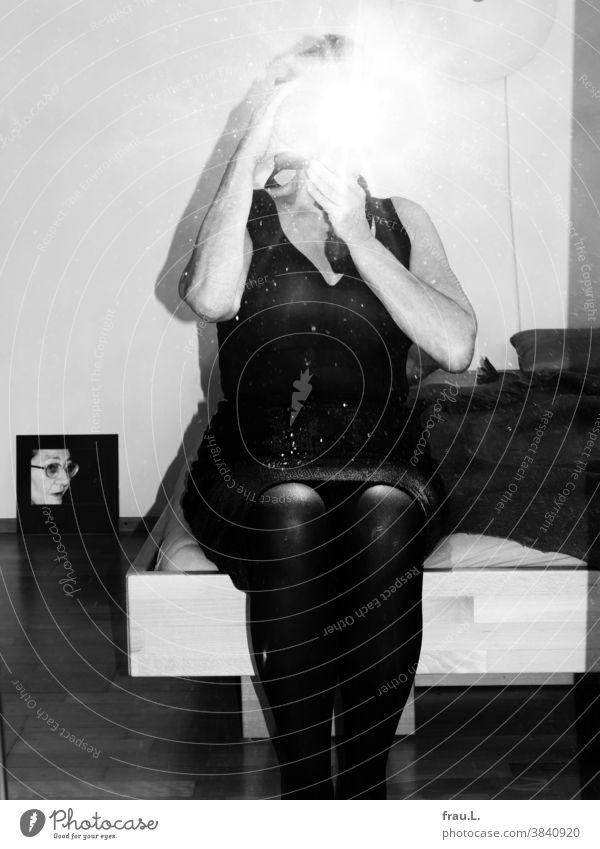 Senior citizen shoots flashlight fie in the mirror - her mother watches. hands Arm body Selfie Flash photo Skirt Mirror Mirror image Woman camera Bed