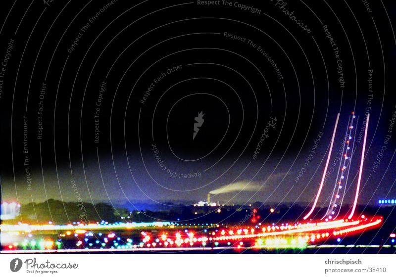 Ready for takeoff Airfield Airplane Beginning Long exposure Light Night Aviation Airport Runway Lighting Control desk