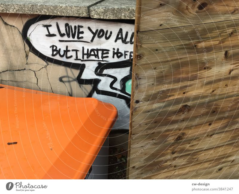 I LOVE YOU ALL Love Graffiti Hatred Wooden wall Exterior shot Colour photo Deserted Characters Wall (barrier) Day Wall (building) Emotions Infatuation Sign