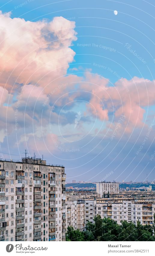 High buildings in the Obolon district of Kiev Europe Kyiv Minska Ukraine architecture blue capital city cityscape clouds day evening exterior housing lamp