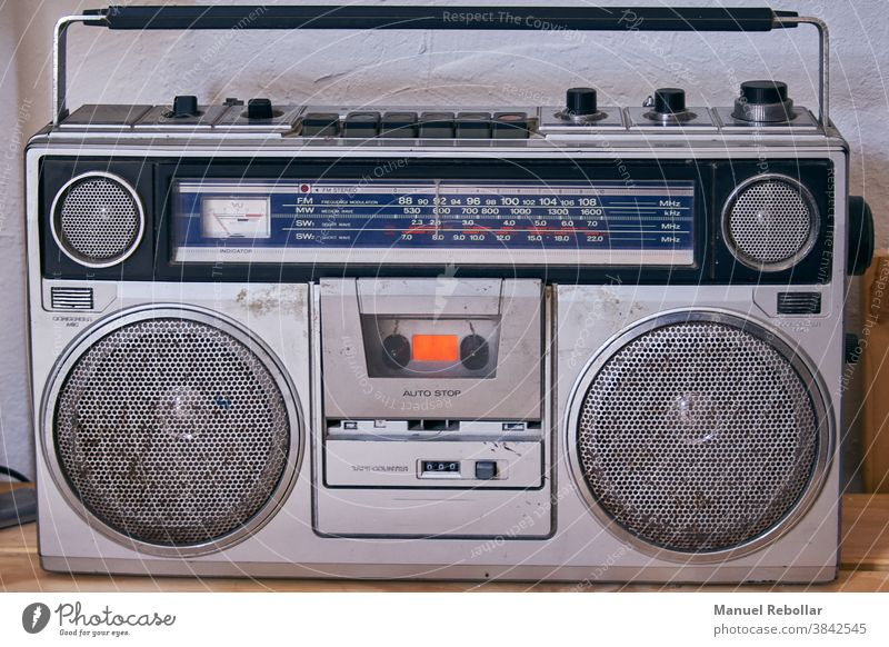 photograph of an old radio sound music vintage retro style broadcast object antique speaker nostalgia classic technology musical wave audio frequency