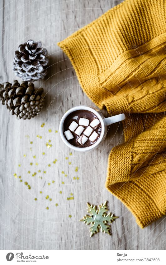 Hot chocolate with marshmallows, a yellow woollen blanket and golden stars on a wooden table marshmellow Cup hygge Wool blanket Yellow Rustic Beverage cute