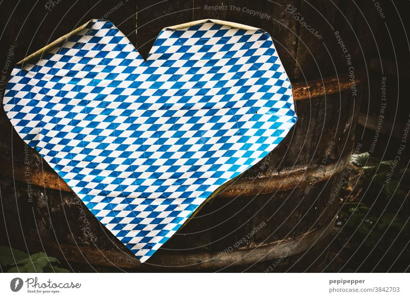 Oktoberfest heart on a barrel Heart Heart-shaped Love Sign Infatuation Romance celebrations Feasts & Celebrations Deserted Emotions Bavaria Blue White Loyalty