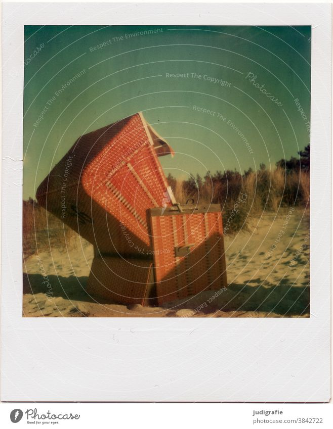 Beach chair at the Baltic Sea on Polaroid. Baltic beach Vacation & Travel Relaxation Sky Summer Exterior shot Deserted Colour photo Tourism Summer vacation