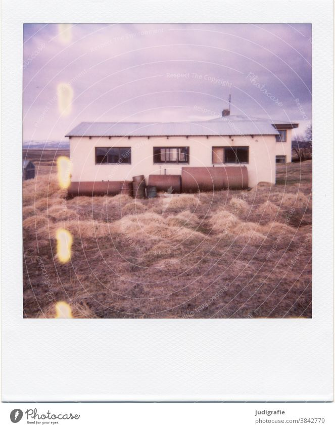 Icelandic house on Polaroid House (Residential Structure) Hut dwell Tank Window Meadow Exterior shot Building Loneliness Living or residing Colour photo