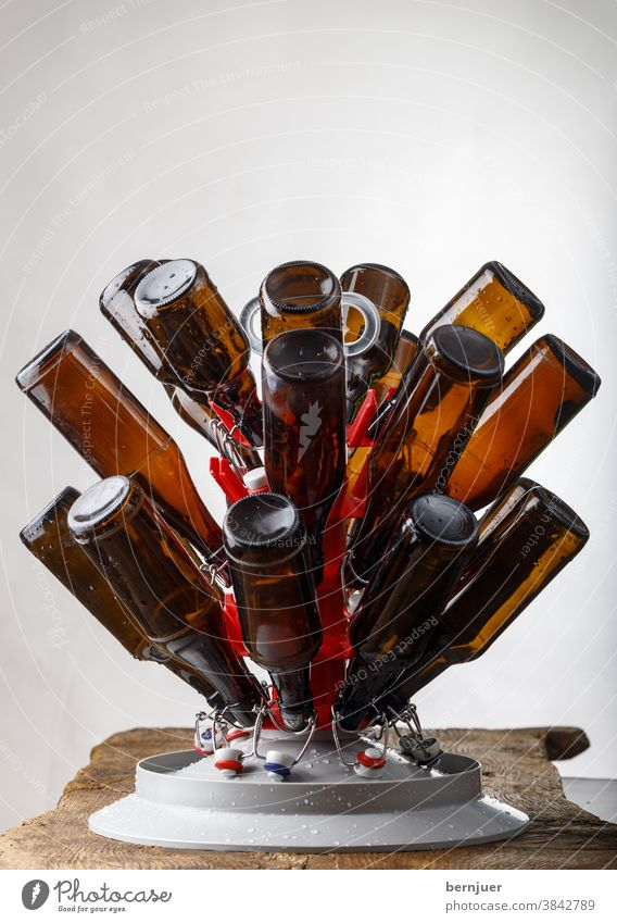 Drying washed beer bottles Wash Laundered Bottle of beer Pillar bottle stand brew Brown Refreshment Glass Beer Beverage White transparent Close-up Drinking