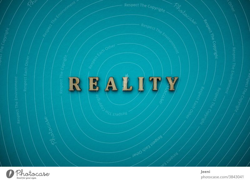REALITY - Reality | Text on a monochrome background in turquoise-blue reality Really actuality fact Fact Turquoise Flashy Bright Colour photo Illuminate