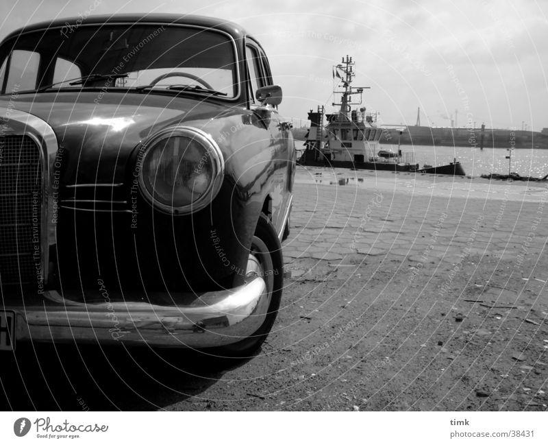 Car Watercraft Hamburg Transport Black & white photo