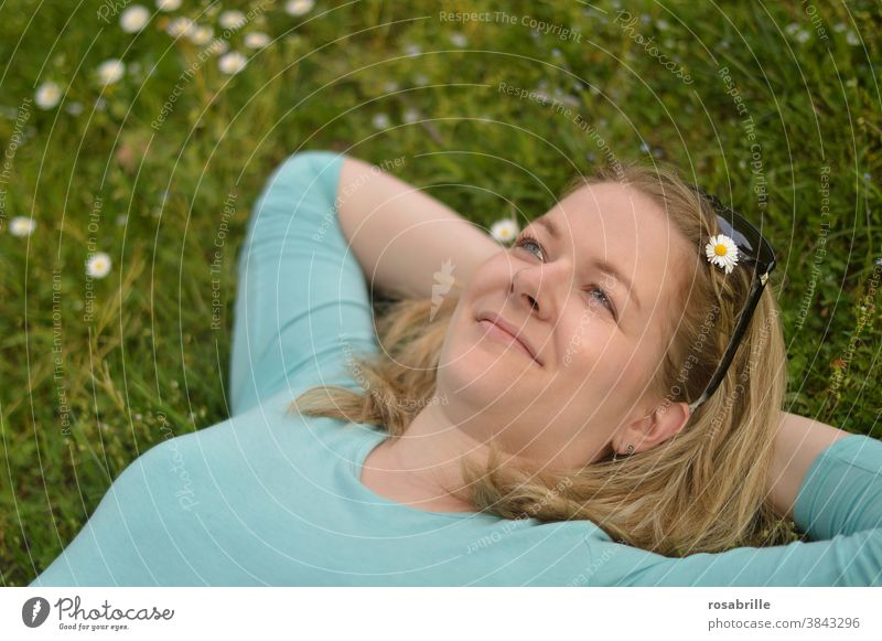 young blonde wife in mind   far away Woman Meadow Lie relax To enjoy Relaxation youthful Blonde Smiling pretty Turquoise light blue Blue ponder in thought