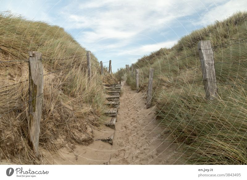 Old and broken wooden stairs and posts with barbed wire fence between two dunes with dune grass at the transition to the sand beach with many tracks under blue sky with clouds