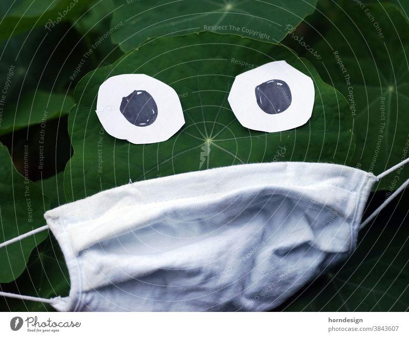 Mask with leaf corona pandemic Protection Corona virus coronavirus COVID guard sb./sth. prevention Funny Nasturtium