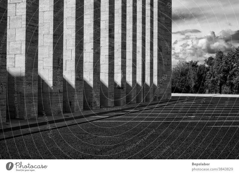 Black and white view of Pillars, italy pillars architecture shadow marble shrine monument columns colonnade black and white square architectural Monument