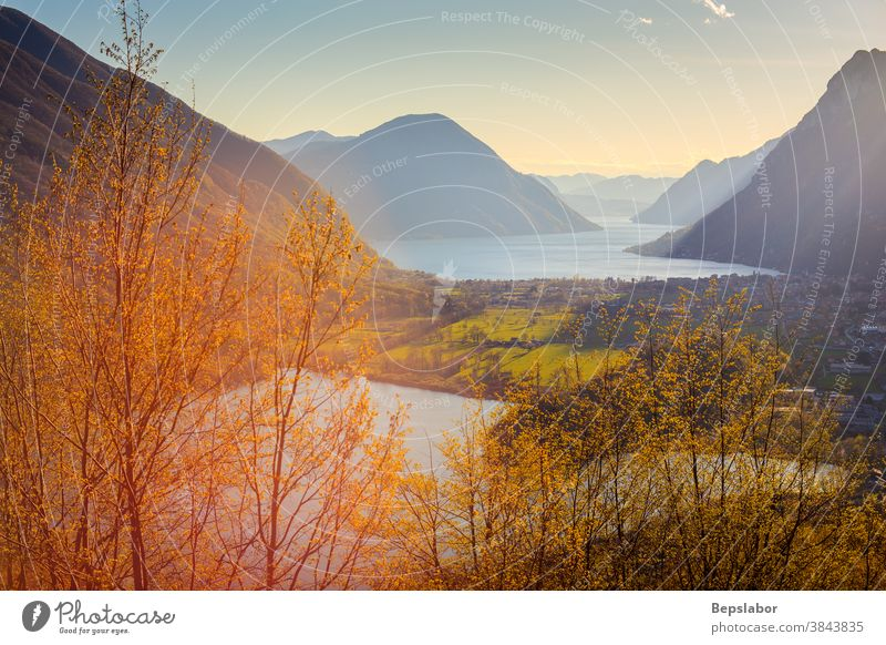 View of the Lake Lugano and Lake Piano, Italy Romazza lake alps destination europe european italy landscape lugano lake monte mountain nature panorama panoramic