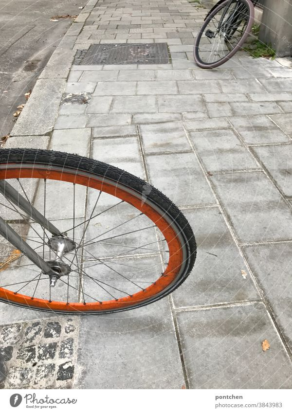 Two bikes parked on the sidewalk. Bicycle tyres bicycles Parking Mobility cobblestones Means of transport Exterior shot Spokes Wheel Tire