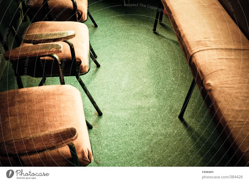 waiting room 2 Chair Gloomy Waiting room Bench Brown Green Linoleum Old Old fashioned Retro Doctor Sit Boredom Colour photo Interior shot Deserted