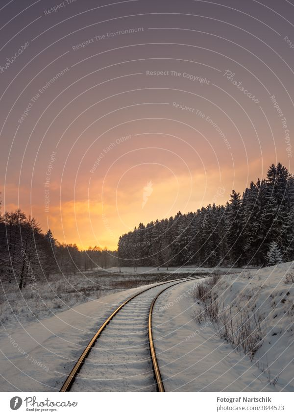 Harz narrow-gauge railway line in a winter sunset pretty Cold Hiking Landscape Mountain Nature Outdoors Railroad Street Scene Picturesque Holiday season Sky