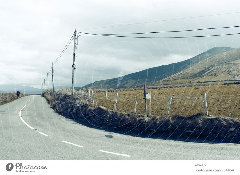 Clouds Cold Mountain Street Meadow Lanes & trails Field Gloomy Cable Electricity pylon Curve Bad weather Telephone cable