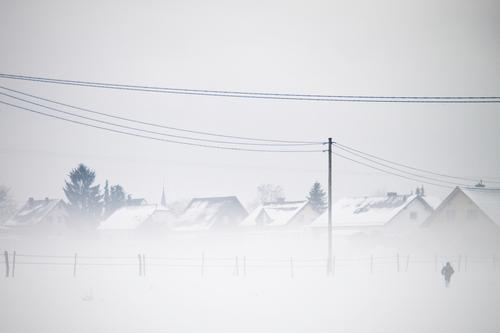 Snow flurries. Landscape Sky Winter Fog Ice Frost Snowfall Field Exceptional Cold Gray White House (Residential Structure) Village Germany Electricity pylon