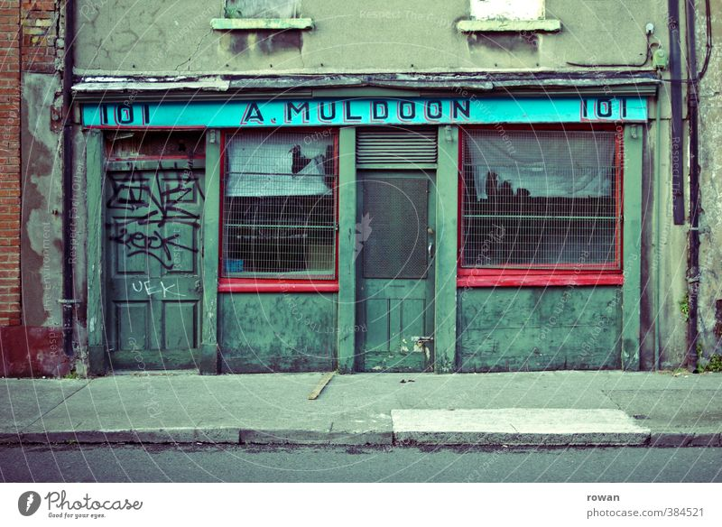 No. 101 Economy Trade Business SME Company Town Downtown Old town Pedestrian precinct Facade Window Door Dark Creepy Broken Retro Trashy Gloomy Green