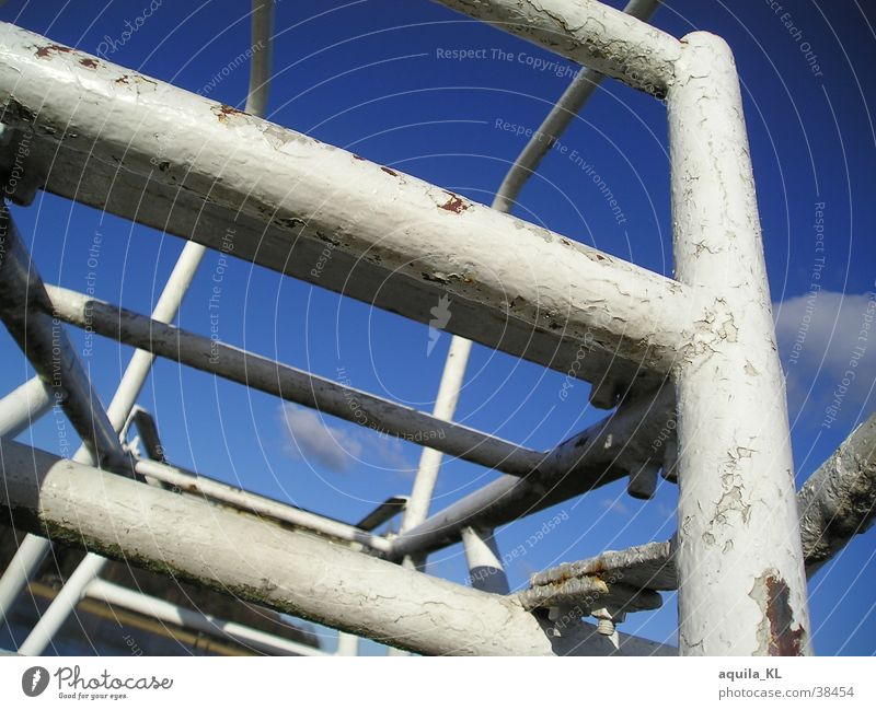 Old Blue White Black Cold Metal Leisure and hobbies Dirty Large Exceptional Tower Firm Rust Ladder Silver Scaffolding