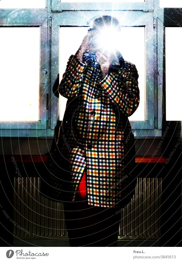 Onlineshopping: blown away - the coat went back. hands Arm Selfie Flash photo Skirt Mirror Mirror image Woman camera Photography Sit Window Table Coat