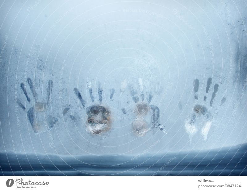 Caution cold! handprint Ice Window Frost Winter Frozen iced Cold icily Snow winter Window pane hands frozen