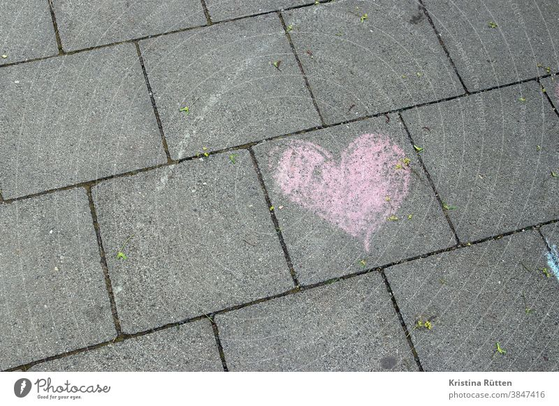 pink heart with chalk painted on the walkway Heart sweetheart Chalk Painted off Sidewalk Street Ground pavement Pink Sign symbol symbolic Love In love romantic
