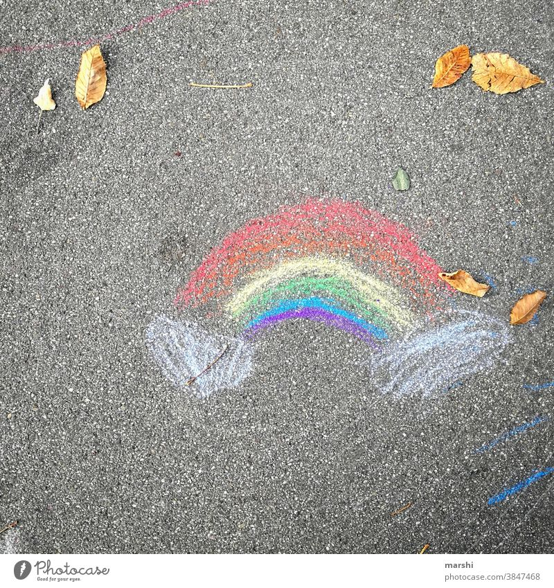 November 2020 | and again stayhome rainbow variegated Chalk Painting (action, artwork) Street urban corona Stayhome Infancy Art symbol Sign