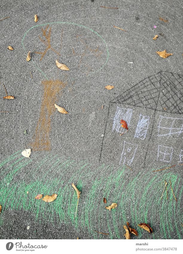 My home is my castle Chalk Painting (action, artwork) Draw Infancy Street at home House (Residential Structure) Tree Stayhome corona dwell Property Build dreams