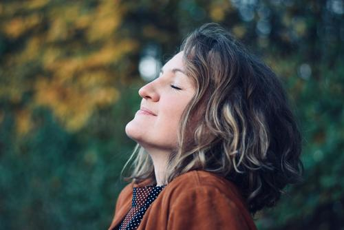 TAKE A DEEP BREATH - AUTUMN - FRESH AIR Woman Blonde Curl eyes closed Exterior shot fresh air breathe deeply To enjoy Contentment silent be on one's own Freedom