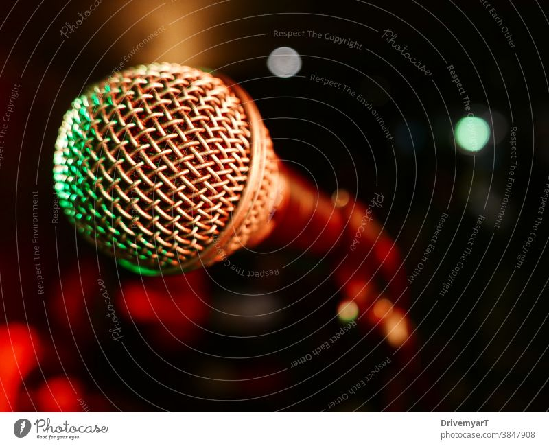 Microphone on stage, ready to be used (closeup) mic micro microphone show speech talk sing entertainment music singer singing rap slam perform live performance
